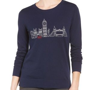 London Skyline Embroidered Navy Sweeter